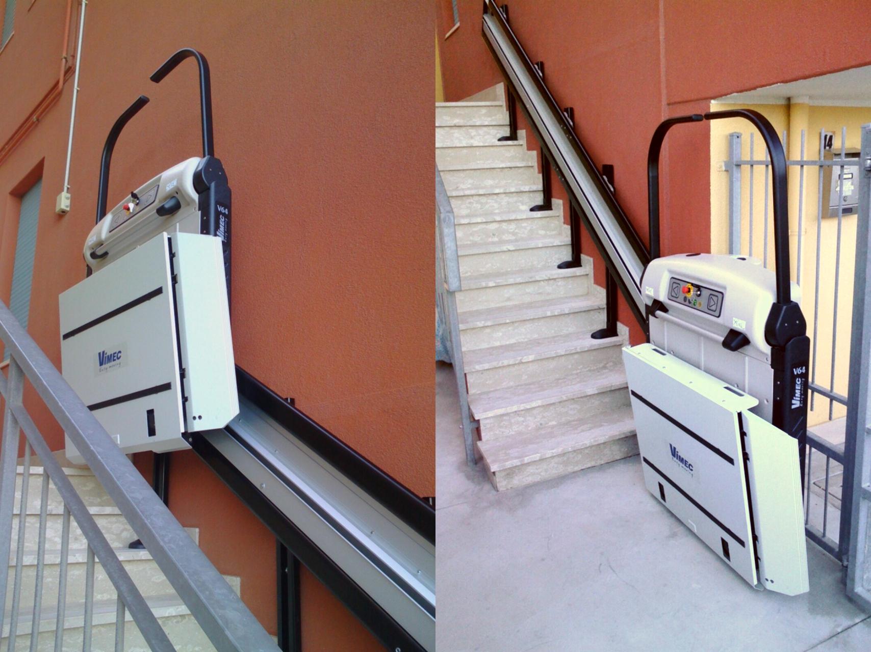 Immagine di 2 modelli di servoscala per disabili e anziani for Montascale per disabili verona